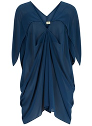 Orien Love V Neck Ruched Batwing Tunic Blue