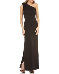 Kay Unger New York Jeweled One Shoulder Gown W Sunburst Pleats Black