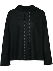 Christian Dada Cropped Hoodie Nylon Mohair Wool Black