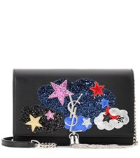 Saint Laurent Kate Chain Wallet Embellished Leather Shoulder Bag Black