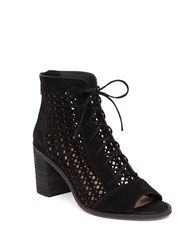 Vince Camuto Trevan Perforated Block Heel Suede Ankle Boots Black