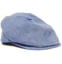 Lock And Co Hatters Reverb Linen Chambray Flat Cap Blue