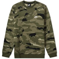 Nike Club Camo Crew Sweat Green