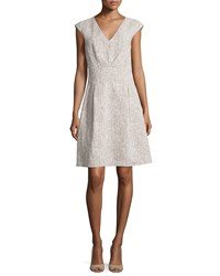Michael Kors Collection Jackie Cap Sleeve A Line Dress Hemp White Women's Size 8