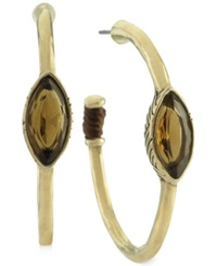 The Sak Earrings Gold Tone Light Smoky Topaz Stone Hoop Earrings
