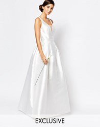 Chi Chi London Bridal Maxi Dress With Plunge Front And Keyhole Back Detail White