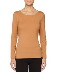 Wolford Pure Long Sleeve Pullover Top Croissant