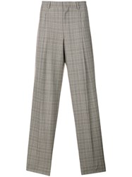 E. Tautz Checked Pleated Trousers Grey