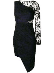 Three Floor Asymmetric Single Sleeve Dress Cotton Polyamide Polyester Black