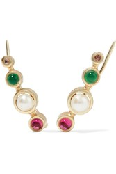 Elizabeth And James Zoe Gold Plated Multi Stone Earrings One Size