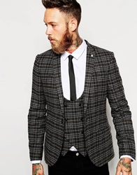 Noose And Monkey Check Flannel Blazer In Skinny Fit Black