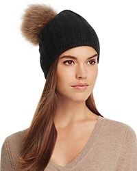 360Cashmere Haven Cashmere Beanie With Asiatic Raccoon Fur Pom Pom Black