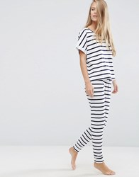 Asos Breton Stripe Tee And Legging Pyjama Set Multi