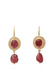 Jade Jagger Diamond Spinel And 18Kt Gold Drop Earrings Red