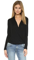Lanston Surplice Long Sleeve Top Black