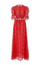 Giamba Flamingo Lace Dress Red