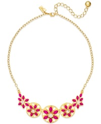 Kate Spade New York Gold Tone White Epoxy Bead Floral Necklace Pink