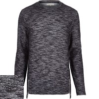 River Island Mens Black Zip Hem Long Sleeve Jumper