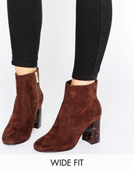 Asos Erin Wide Fit Heeled Ankle Boots Choc Brown