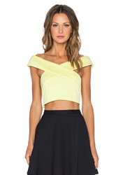 Lavish Alice Off Shoulder Crop Top Yellow