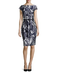 Escada Paisley Print Jacquard Belted Dress Navy