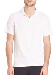 Saks Fifth Avenue Johnny Slub Knit Polo Evening Blue White