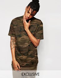 Reclaimed Vintage Oversized Camo T Shirt In Overdye Brown Green