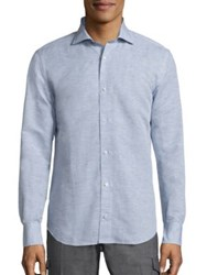 Eleventy Long Sleeve Heathered Shirt Denim