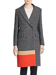Msgm Colorblock Paneled Glen Plaid Wool Blend Coat Black Multi