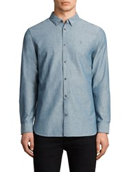 Allsaints Tulare Textured Slim Fit Shirt Blue