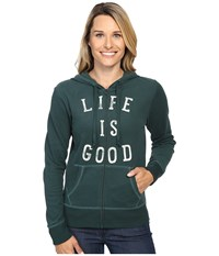 Life Is Good Lig Go To Zip Hoodie Balsam Green Women's Sweatshirt Gray