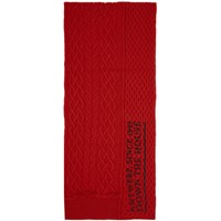 Raf Simons Red Wool Asymmetric Scarf