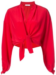 Tome Cropped Tie Waist Blouse Red