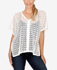 Lucky Brand Cotton Lace Poncho Lucky White