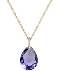Kate Spade New York Hidden Gems Gold Tone Geometric Crystal Pendant Necklace Purple