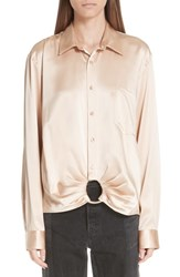 Martine Rose Ring Silk Shirt Almond