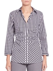 Lafayette 148 New York Pleated Button Front Shirt Ink Multi