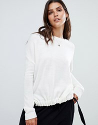 Micha Lounge Ruched Front Jumper With Tie Detail Cream