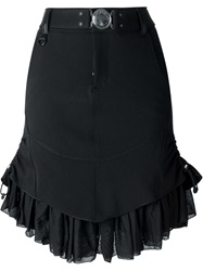 High Ruffled Hem Skirt Black