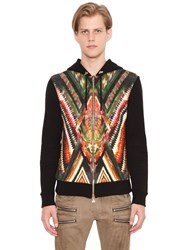 Balmain Zip Up Hooded Cotton Sweatshirt