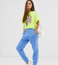 Daisy Street Relaxed Cuffed Joggers With Back Embroidered Usa Patch Blue