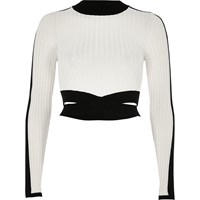 River Island Womens Cream Ribbed Knit Wrap Crop Top
