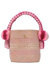 Yosuzi Woman Kesenia Embellished Woven Straw Bucket Bag Pastel Pink