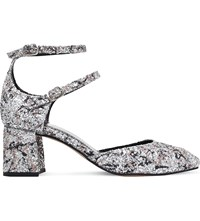 Kg By Kurt Geiger Dolly Glittered Heeled Courts Silver Com