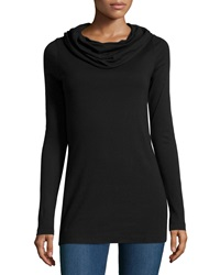 Three Dots Long Sleeve Off The Shoulder Top Black