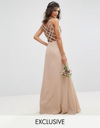 Maya Delicate Sequin Maxi Dress With Cross Back Detail Mink Pink