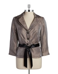 Adrianna Papell Shimmery Belted Blazer Toast