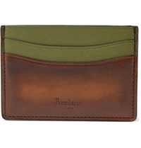 Berluti Bambou Polished Leather Cardholder Brown