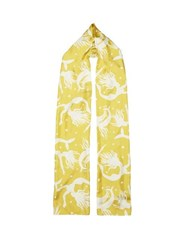 Valentino Mermaid Print Silk Headscarf Yellow