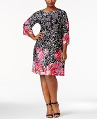 Ny Collection Plus Size Printed Boat Neck Shift Dress Joyful
